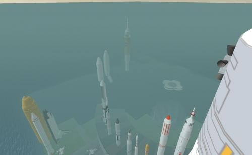Second Life - Flying around rockets: Taken while flying around the Space Museum in Second Life.