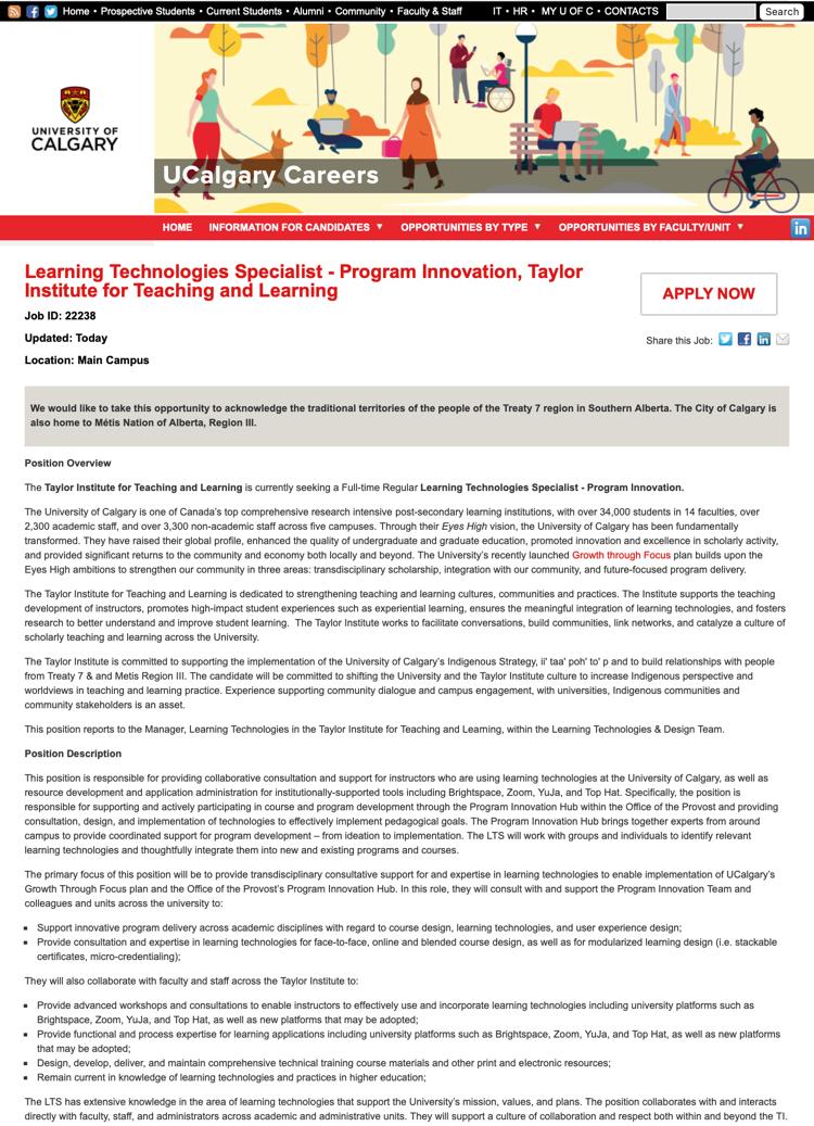 screenshot of posting on UCalgary Careers website