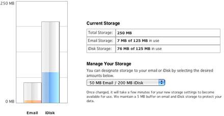 .Mac iDisk and Mail Storage Settings