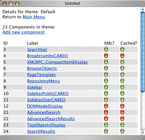 Component list screen for the Default theme
