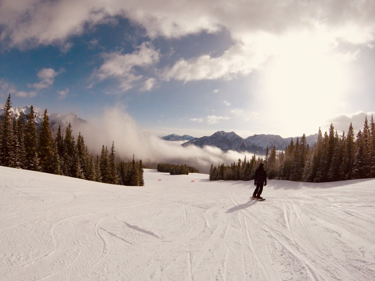 Spring skiing at Nakiska